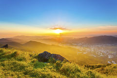 Majestic sunset in mountains, Hong Kong. It is the sunset at Tai Mo Shan, Hong Kong Stock Image