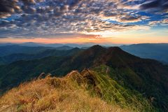 Majestic sunset in the mountains landscape Stock Photography