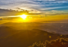 Majestic sunset in the mountains landscape Stock Photo