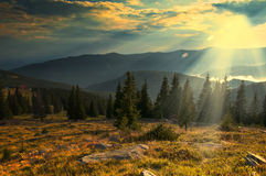 Majestic sunset in the mountains landscape Stock Image