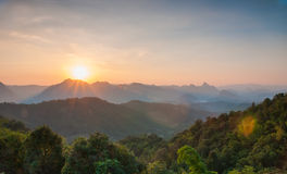Majestic sunset in the mountains landscape. Stock Images