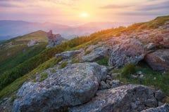 Majestic sunset in the mountains landscape. Carpathian mountins, Ukraine Stock Images