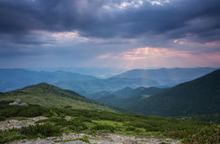 Majestic sunset in the mountains landscape. Stock Photos