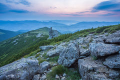 Majestic sunset in the mountains landscape. Royalty Free Stock Image