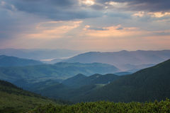Majestic sunset in the mountains landscape. Royalty Free Stock Photo