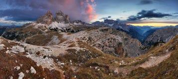 Majestic sunset in mountains landscape, Dolomites, Tre Cime Royalty Free Stock Image