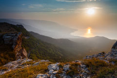 Majestic sunset in the mountains landscape Stock Images