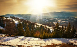 Majestic sunset in the mountains landscape. Sunset landscape in Carpathian mountains. Dawn in mountains Carpathians, Romania Royalty Free Stock Photography