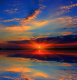 Majestic sunset over lake Royalty Free Stock Photography