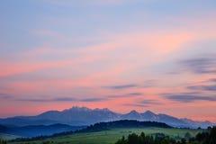 Majestic sunset over Tatra Mountains Stock Photo