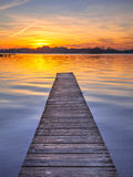 Majestic Sunset over Wooden Jetty in Groningen, Netherlands Royalty Free Stock Photos