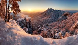 Majestic sunset panorama in winter mountains landscape, Slovakia stock images