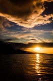Majestic Sunset Shore And Islands Stock Images