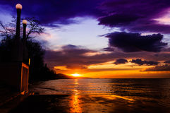 Majestic Sunset Shore And Islands Royalty Free Stock Images