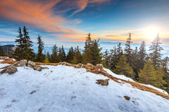 Majestic sunset and winter landscape,Carpathians,Romania,Europe Royalty Free Stock Image