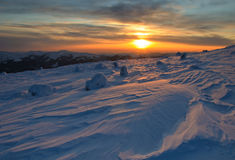 Majestic sunset in the winter mountains landscape Royalty Free Stock Photo