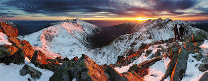 Majestic sunset in winter mountains landscape Stock Photo