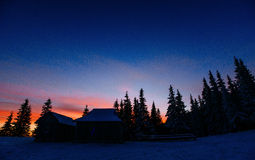 Majestic sunset in the winter mountains landscape Royalty Free Stock Photography