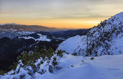 Majestic sunset in winter mountains landscape Royalty Free Stock Photos