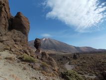 Majestic Teide view, Tenerife. Mount Teide is a volcano on Tenerife in the Canary Islands. It is the highest point in Spain and the highest point above sea level royalty free stock photos