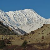 Majestic Tilicho Peak Stock Photo