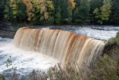 Majestic Upper Falls, Tahquamenon River, Chippewa County, Michigan, USA. Majestic Upper Tahquamenon Falls in Autumn, Tahquamenon Falls State Park, Chippewa Stock Photography