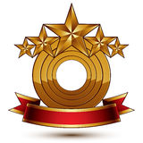 Majestic vector golden ring , 3d. Majestic vector golden ring  on white background, 3d polished five golden stars. Heraldic branded symbol with festive red Stock Photos