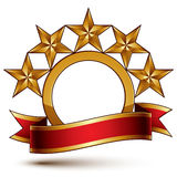 Majestic vector golden ring isolated on white background, 3d pol Royalty Free Stock Photography