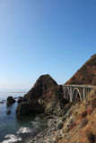 Majestic viaduct on the highway on the shore Stock Image