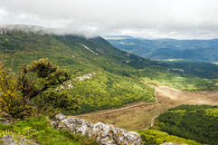 Majestic view from above on Crimean mountains. Covered by golden, yellow and green autumn forests Royalty Free Stock Photography