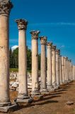 Majestic view of Agora of Ephesus from columnar road and columns, Izmir, Turkey. Majestic view of Agora of Ephesus from columnar road and columns, Turkey royalty free stock photo