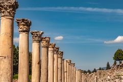 Majestic view of Agora of Ephesus from columnar road and columns, Izmir, Turkey. Majestic view of Agora of Ephesus from columnar road and columns,Turkey royalty free stock photo