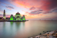 Majestic view of beautiful Malacca Straits Mosque during sunset Stock Images