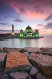 Majestic view of beautiful Malacca Straits Mosque during sunset royalty free stock photos