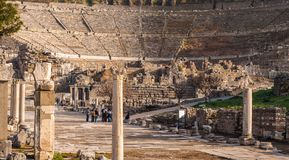 Majestic view of Ephesus theater from columnar road, Turkey. Majestic view of Ephesus theater from columnar road, Izmir, Turkey stock photo