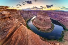 Grand Canyon Horse Shoe Bend. Majestic view of Horse Shoe Bend, Colorado River in Page, Arizona USA Royalty Free Stock Photography