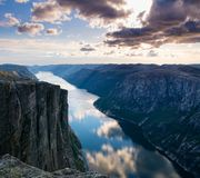 Majestic view of the Lysefjorden, with mountains on the sunset. Stock Images