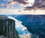 Majestic view of the Lysefjorden, with mountains on the sunset. Stock Image