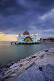 Majestic view of Malacca Straits Mosque during beautiful sunset Royalty Free Stock Photo