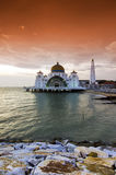 Majestic view of Malacca Straits Mosque during sunset Royalty Free Stock Image