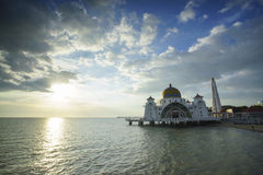 Majestic view of Malacca Straits Mosque during sunset Stock Images