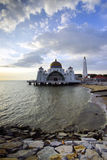 Majestic view of Malacca Straits Mosque during sunset Royalty Free Stock Photo