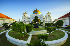 Majestic view of Malacca Straits Mosque during sunset Royalty Free Stock Images