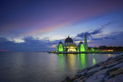 Majestic view of Malacca Straits Mosque during sunset Royalty Free Stock Photography