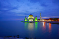 Majestic view of Malacca Straits Mosque during sunset Stock Photography