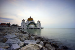 Majestic view of Malacca Straits Mosque during sunset Royalty Free Stock Photos