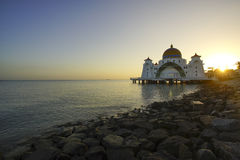 Majestic view of Malacca Straits Mosque during sunset With copys Royalty Free Stock Photo