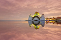 Majestic view of Malacca Straits Mosque during sunset. With copyspace area. Stock Image