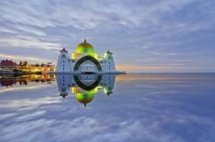Majestic view of Malacca Straits Mosque during sunset. With copyspace area. Stock Photos
