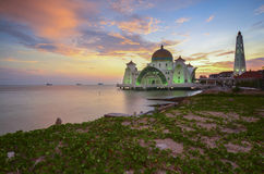 Majestic view of Malacca Straits Mosque during sunset with vibra Royalty Free Stock Image